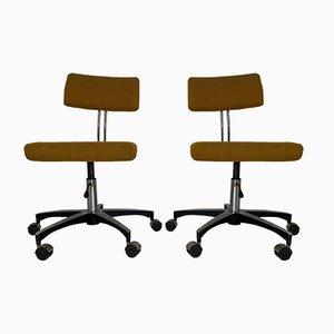 Chaises de Bureau Mid-Century en Plaqué Chrome, Set de 2