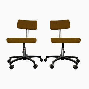 Mid-Century Chrome Plated Desk Chairs, Set of 2