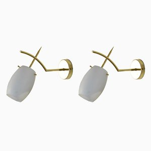French Brass and Opaline Glass Sconces, 1950s, Set of 2