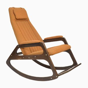 Beech and Textile Rocking Chair from ÚLUV, 1970s