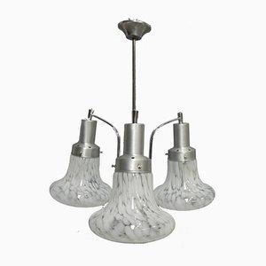 Dreiarmige Vintage Deckenlampe aus Aluminium & Glas, 1970er