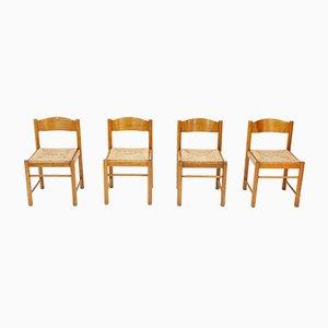Französische Mid-Century Esszimmerstühle aus Esche & Rattan, 1960er, 4er Set