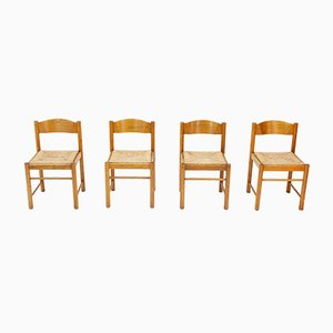 Mid-Century French Ash and Rattan Dining Chairs, 1960s, Set of 4