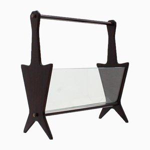 Revistero italiano de vidrio y ébano de Ico Luisa Parisi, años 50