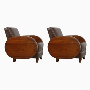 Art Deco Leather and Wood Lounge Chairs, 1920s, Set of 2