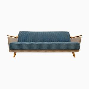 Deutsches Mid-Century Sofa in Blau & Beige, 1950er