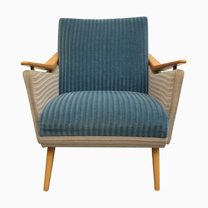Mid-Century German Blue and Beige Lounge Chair, 1950s