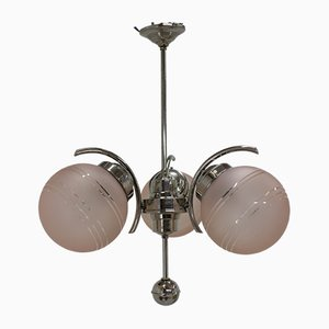 Art Deco Pink Sandblasted Glass Chandelier, 1920s