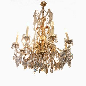 Vintage Italian Brass and Crystal Chandelier, 1970s