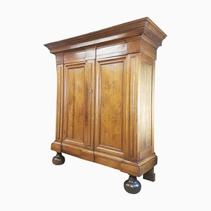 Antique Baroque Style German Walnut Veneer Armoire