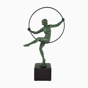 Art Deco French Metal and Marble Sculpture by Marcel Bouraine for Max Le Verrier, 1930s