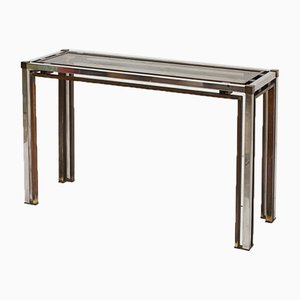 Italian Two-Tone Smoked Glass Console Table, 1970s