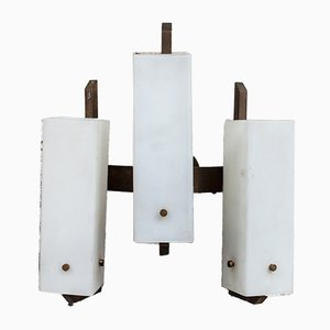 Italian Brass and Glass Sconce from Stilnovo, 1950s