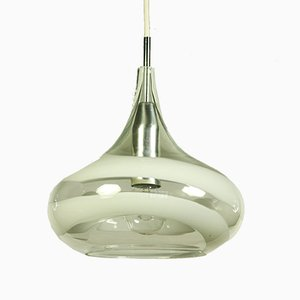 German Aluminum and Glass Ceiling Lamp from Doria Leuchten, 1970s