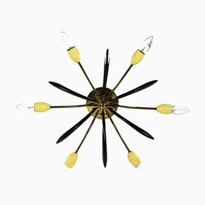 Mid-Century German Brass Ceiling Lamp, 1950s