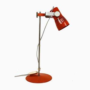 Lámpara de mesa de metal cromado y naranja de Pavel Grus, años 70