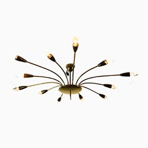 Mid-Century German Brass and Steel Ceiling Lamp, 1950s