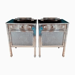 Art Deco Glass and Nickel Plated Nightstands, 1930s, Set of 2