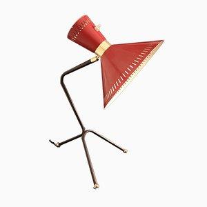Lámpara de mesa Diabolo francesa en rojo con trípode, años 50