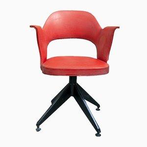 Italian Iron and Vinyl Swivel Chairs, 1950s, Set of 2