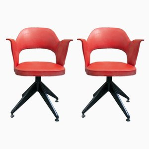 Italian Iron and Vinyl Swivel Chairs, 1950s, Set of 2