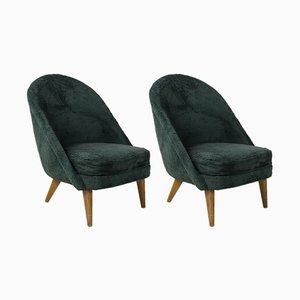 Französische Mid-Century Sessel mit Stoffbezug & Holzgestell, 1940er, 2er Set