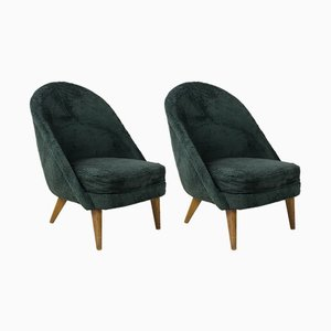 Mid-Century French Fabric and Wood Armchairs, 1940s, Set of 2