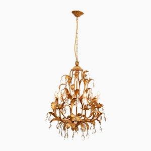 Lámpara de araña italiana antigua bañada en oro
