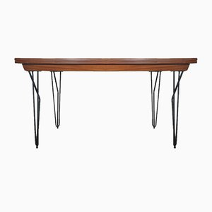 Scandinavian Modern Extending Iron and Teak Dining Table, 1960s