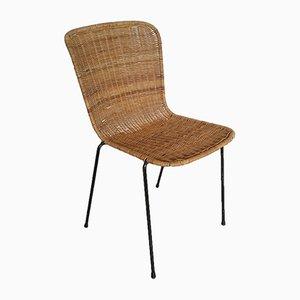 Scandinavian Modern Metal and Rattan Dining Chairs, 1960s, Set of 8