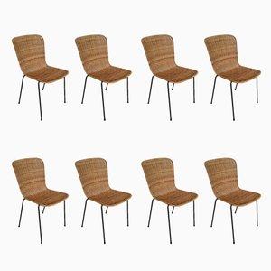 Chaises de Salle à Manger Scandinaves en Métal et Rotin, 1960s, Set de 8