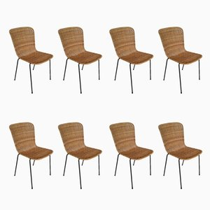 Scandinavian Modern Metal and Rattan Dining Chairs, 1960s, Set of 8