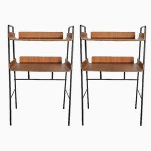 Mesas escandinavas modernas de contrachapado y metal, años 60. Juego de 2