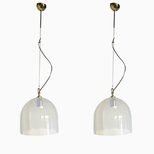 Brass and Glass Ceiling Lamps from La Murrina, 1970s, Set of 2