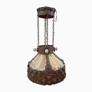 Lámpara de techo antigua moderno de cobre y seda