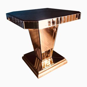 Mesa de centro Art Déco de vidrio y roble, años 30