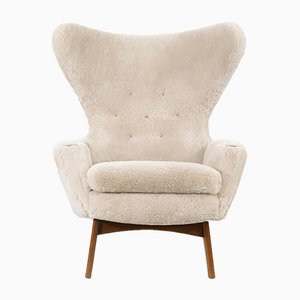Shearling Wingback Chairs by Adrian Pearsall for Craft Associates, 1960s, Set of 2