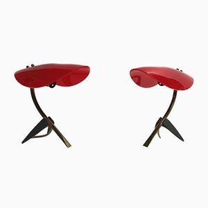 Lámparas de mesa italianas de latón y plástico de Stilnovo, años 50. Juego de 2
