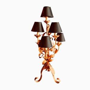 Französische Mid-Century Lampe aus Metall mit 7 Armen, 1950er