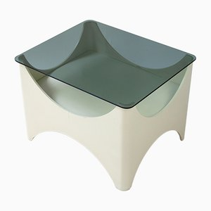 Italian Modern Smoked Glass and Wood Side Table, 1960s