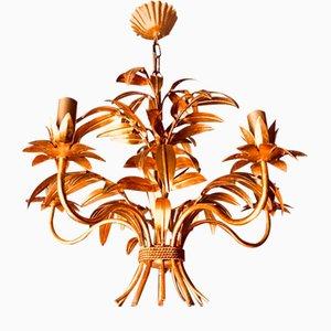 Lampadario vintage con foglie di palma di Hans Kögl, anni '70