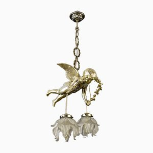 French Bronze and Frosted Glass Chandelier, 1920s
