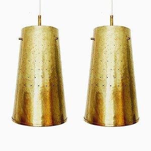 Lampade da soffitto Mid-Century in ottone, Italia, anni '50, set di 2