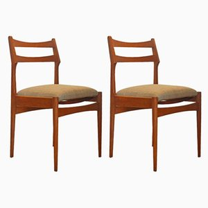 Italian Modern Wooden Dining Chairs, 1970s, Set of 2
