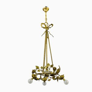 Neo-Classical French Brass and Bronze Chandelier, 1920s