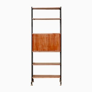 Mid-Century Iron and Mahogany Shelf, 1950s