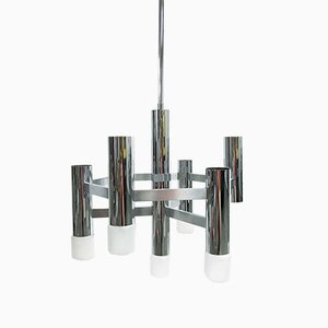 Italian Chrome Plated Chandelier by Gaetano Sciolari for Boulanger, 1970s