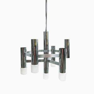 Lámpara de araña italiana cromada de Gaetano Sciolari para Boulanger, años 70