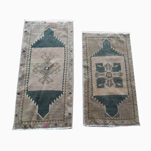 Small Handwoven Oushak Mats, 1970s, Set of 2