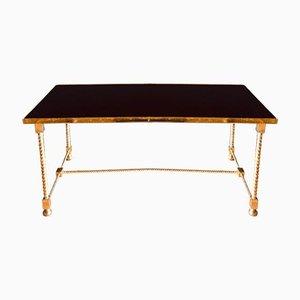 Table Basse Néoclassique en Laiton et Verre de Maison Jansen, 1950s